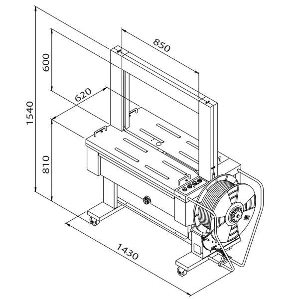 Automatický páskovací stroj TP-6000 (technický výkres)