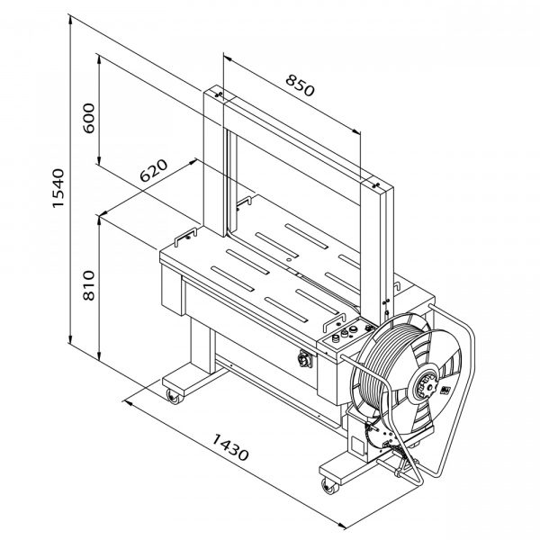 Automatický páskovací stroj TP-601D Tauris (technický výkres)