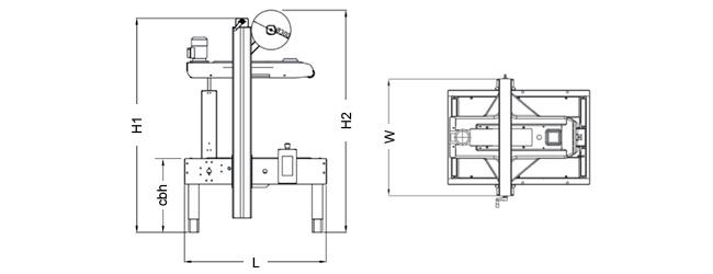 SIAT S26 - Rozmery zalepovacieho stroja