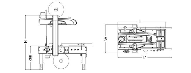 SIAT SR20 - Rozmery zalepovacieho stroja