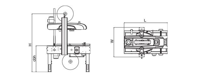 SIAT SK20 - Rozmery zalepovacieho stroja