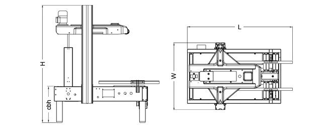 SIAT SR46 - Rozmery zalepovacieho stroja