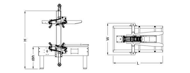 SIAT SK1 - Rozmery zalepovacieho stroja