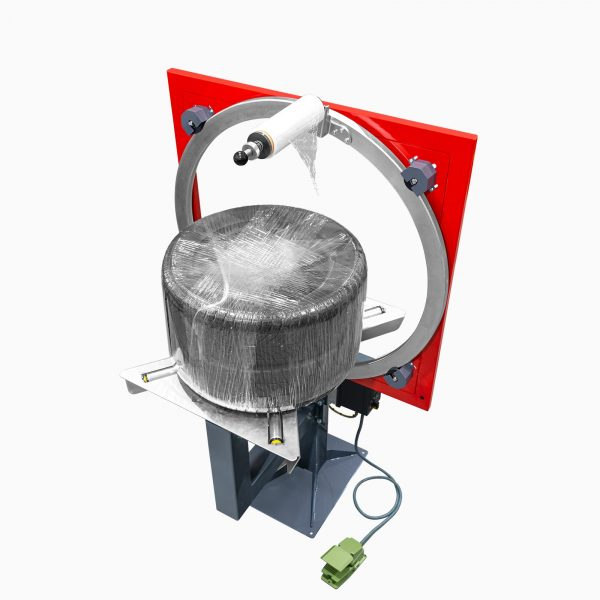 Ukážka zabalených pneumatík - Motorizovaný ovinovací baliaci stroj Wrapping Ring pre balenie pneumatík a okrúhlych predmetov (WR1050T, WR1400T)
