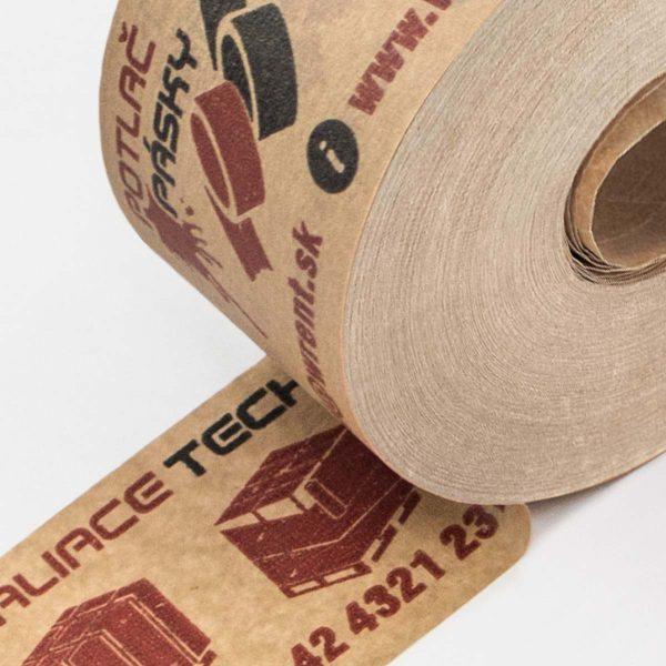 Vodou aktivovateľná papierová lepiaca páska s potlačou